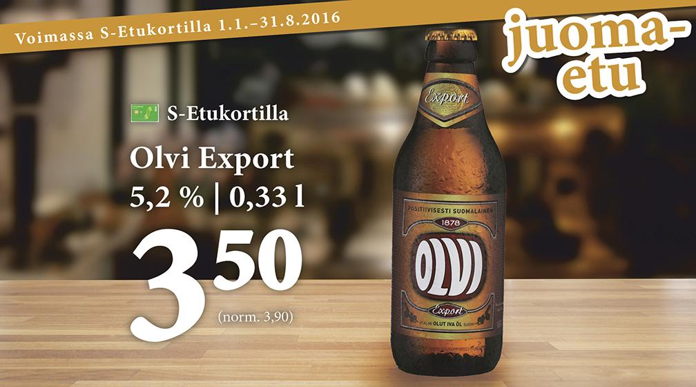 Olvi Export IV 0,33 l S-Etukortilla 3,50 €