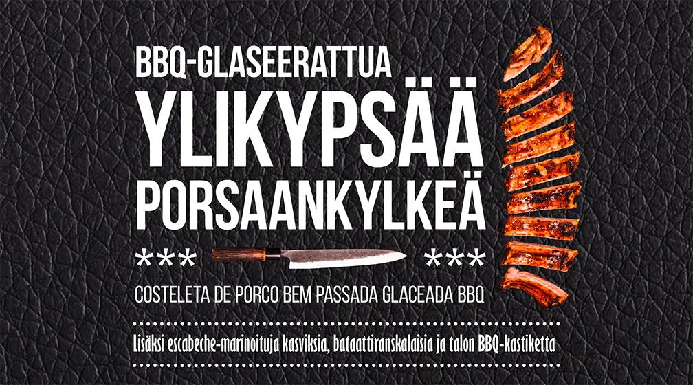 Ylikypsä porsaankylki -ateria vain 19,90 € BBQ Housesta!