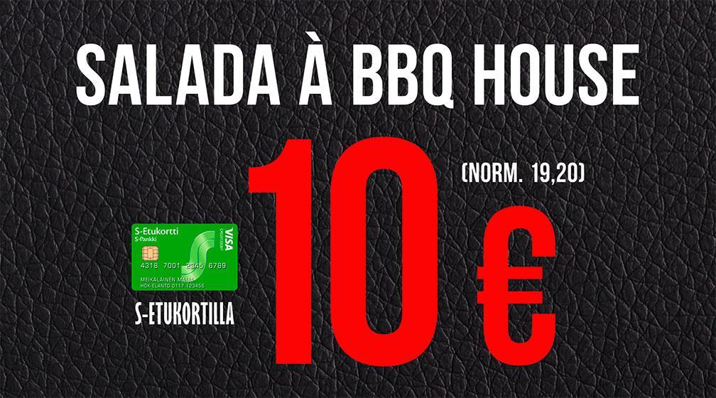 Salada à BBQ House 10 € – ja kuoharipullo 15 €
