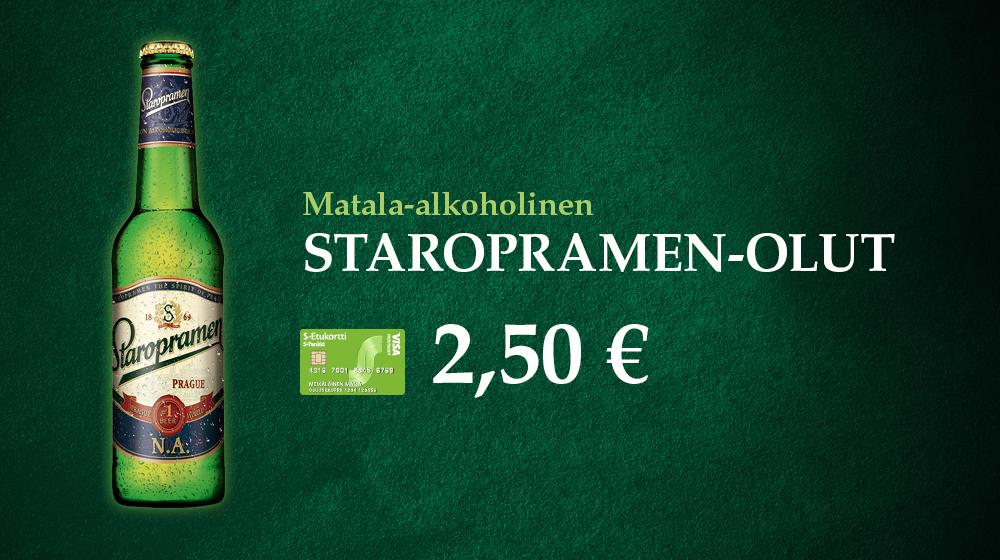 Alkoholiton Staropramen-olut vain 2,50 €