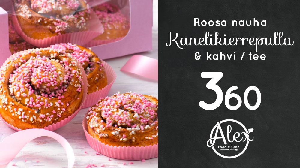 Alex Food & Cafésta Roosa nauha-pulla ja kahvi 3,60€