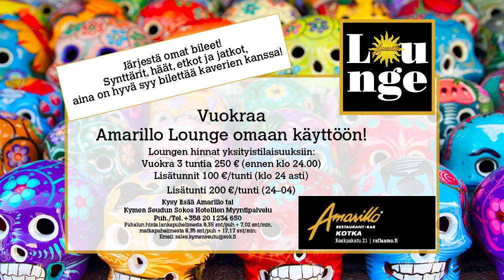 Kotkan Amarillon Lounge vuokrattavissa omaan käyttöön!