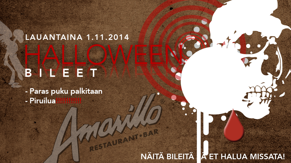 Halloween bileet Lohjan Amarillossa 1.11.2014